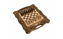 Шахматы + нарды резные c Араратом 40 с ручкой Haleyan
