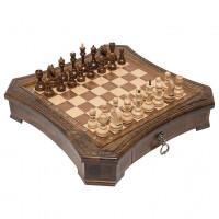 Шахматы резные восьмиугольные в ларце с ящиками 50 Haleyan
